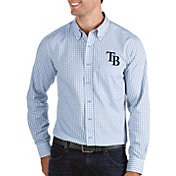 Antigua Men's Tampa Bay Rays Structure Blue Long Sleeve Button Down Shirt