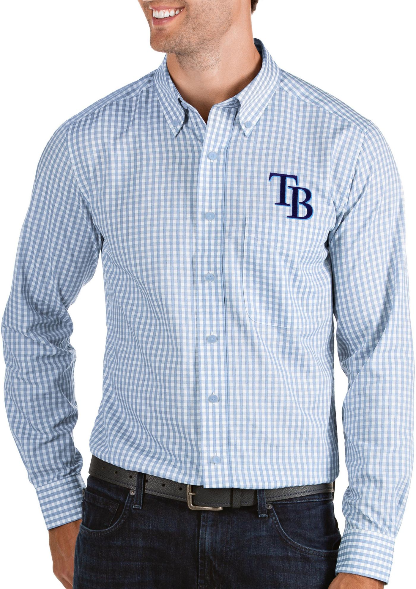 Antigua Men's Tampa Bay Rays Structure Button-Up Blue Long Sleeve Shirt