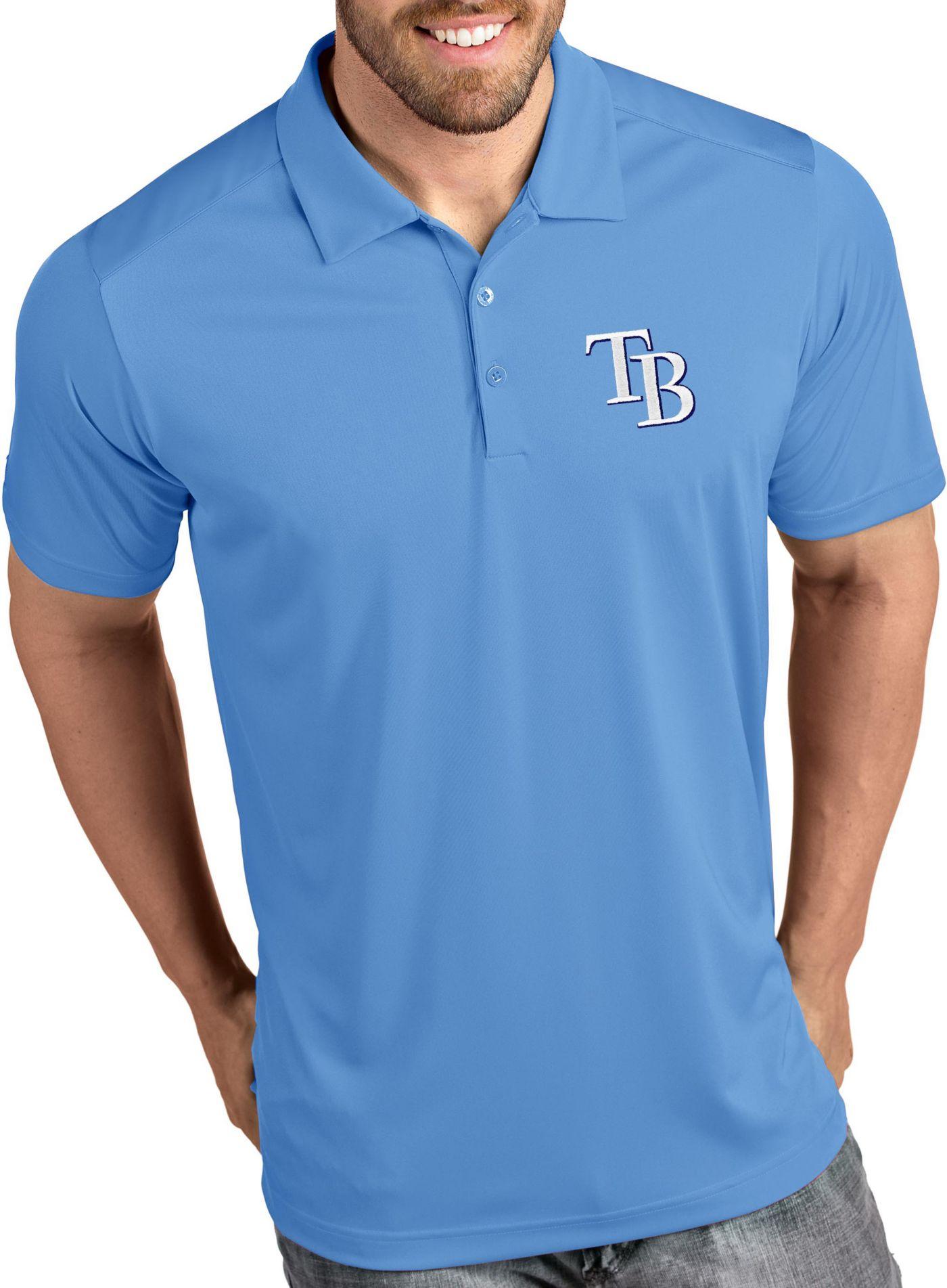Antigua Men's Tampa Bay Rays Tribute Light Blue Performance  Polo