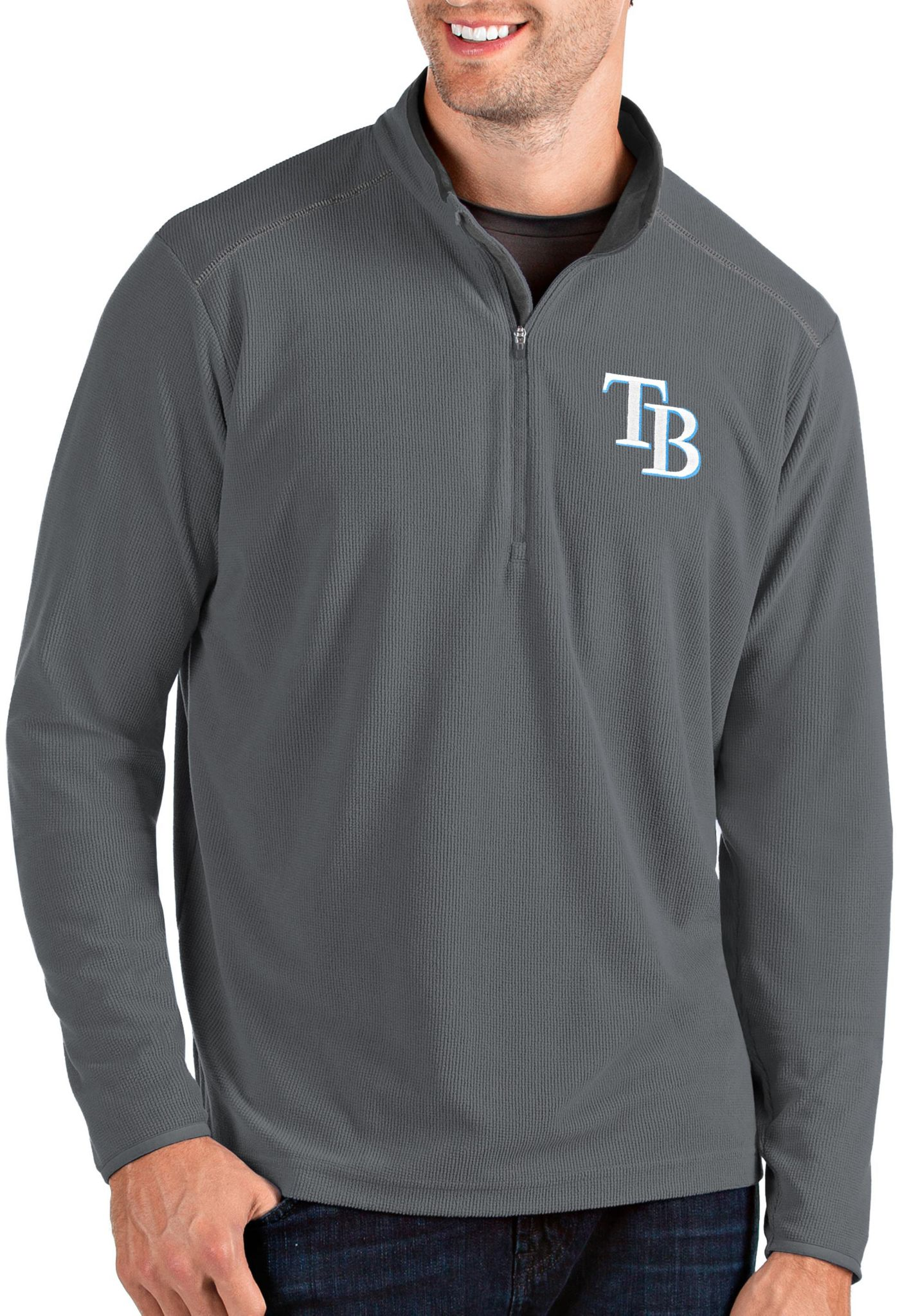 Antigua Men's Tampa Bay Rays Grey Glacier Quarter-Zip Pullover