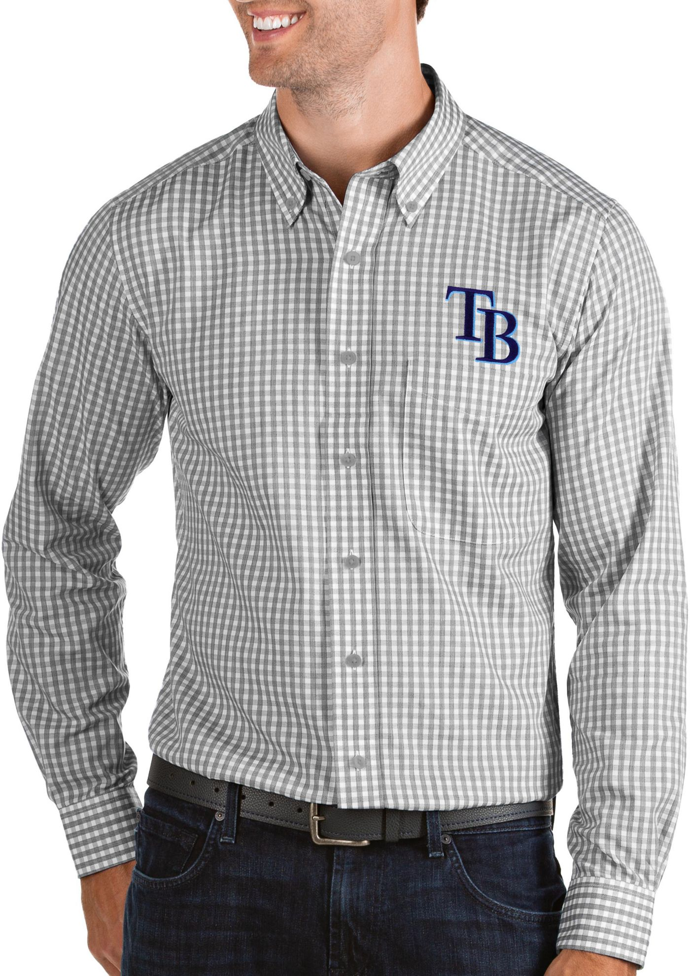 Antigua Men's Tampa Bay Rays Structure Button-Up Grey Long Sleeve Shirt