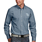 Antigua Men's Tampa Bay Rays Associate Button-Up Navy Long Sleeve Shirt