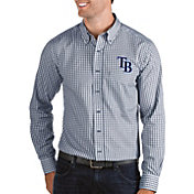 Antigua Men's Tampa Bay Rays Structure Navy Long Sleeve Button Down Shirt