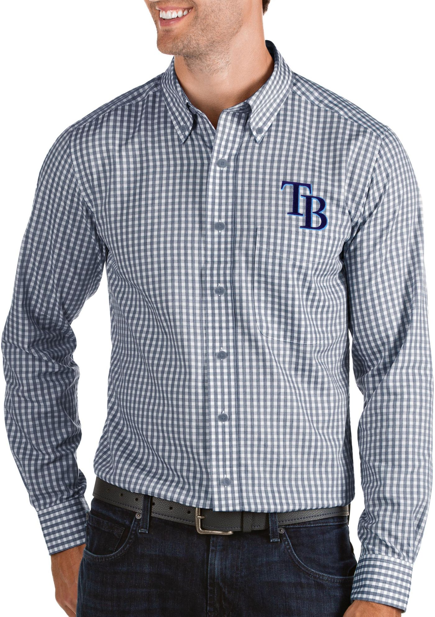 Antigua Men's Tampa Bay Rays Structure Button-Up Navy Long Sleeve Shirt