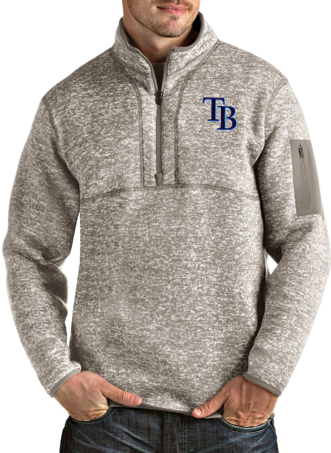 Antigua Men's Tampa Bay Rays Oatmeal Fortune Half-Zip Pullover