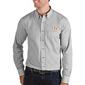 Antigua Men's Houston Astros Structure Button-Up Grey Long Sleeve Shirt