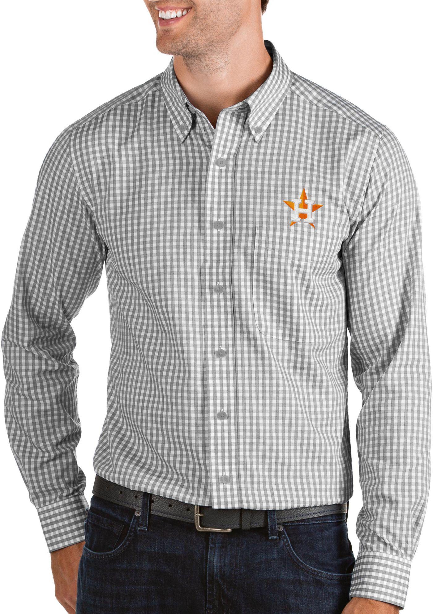 Antigua Men's Houston Astros Structure Button-Up Grey Long Sleeve Shirt