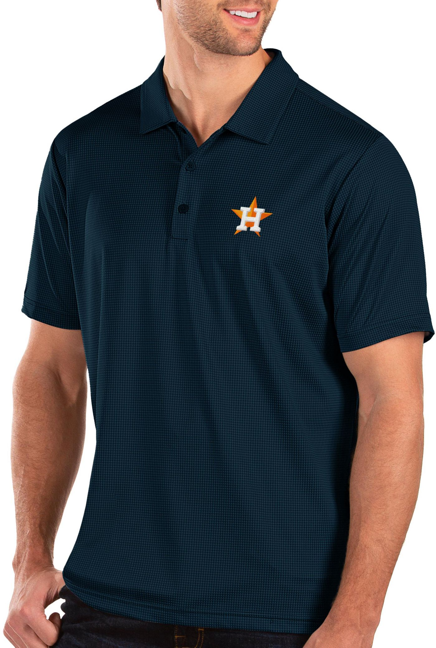 Antigua Men's Houston Astros Navy Balance Polo