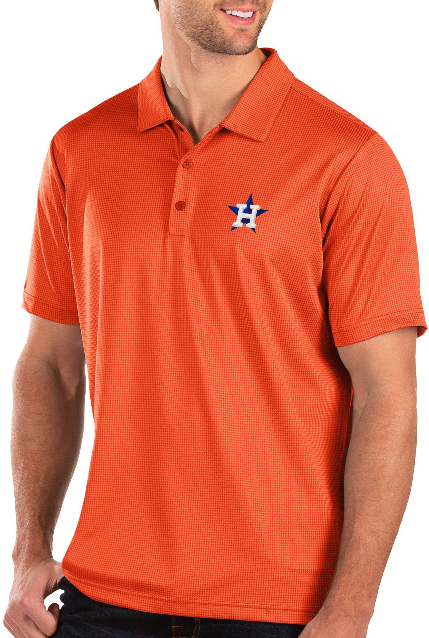 Antigua Men's Houston Astros Orange Balance Polo