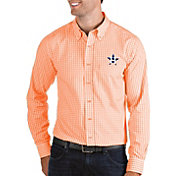 Antigua Men's Houston Astros Structure Button-Up Orange Long Sleeve Shirt