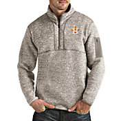 Antigua Men's Houston Astros Oatmeal Fortune Half-Zip Pullover