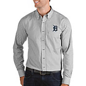 Antigua Men's Detroit Tigers Structure Button-Up Grey Long Sleeve Shirt