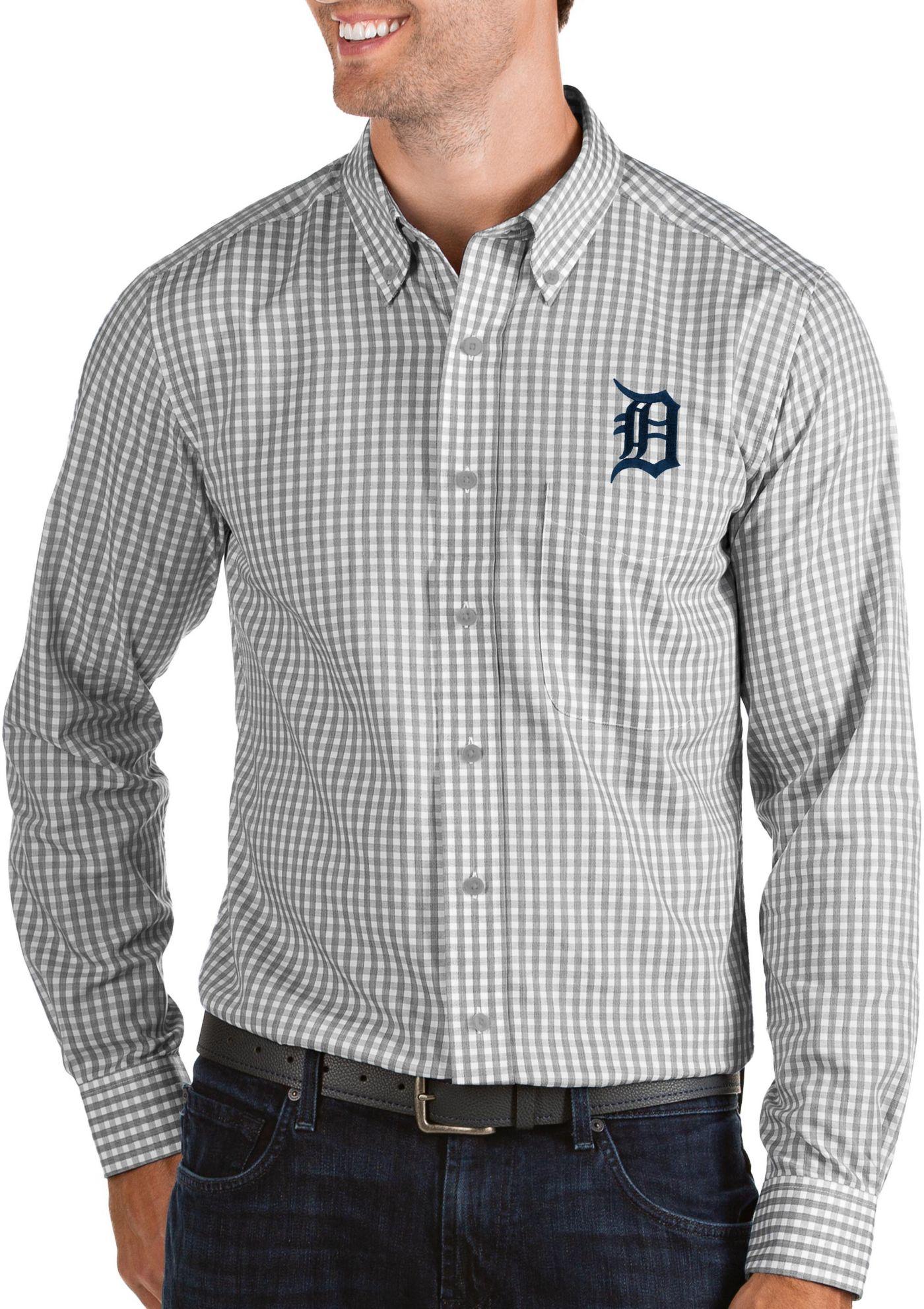 Antigua Men's Detroit Tigers Structure Button-Up Grey Long Sleeve Shirt