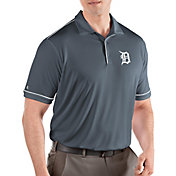 Antigua Men's Detroit Tigers Salute Grey Performance Polo