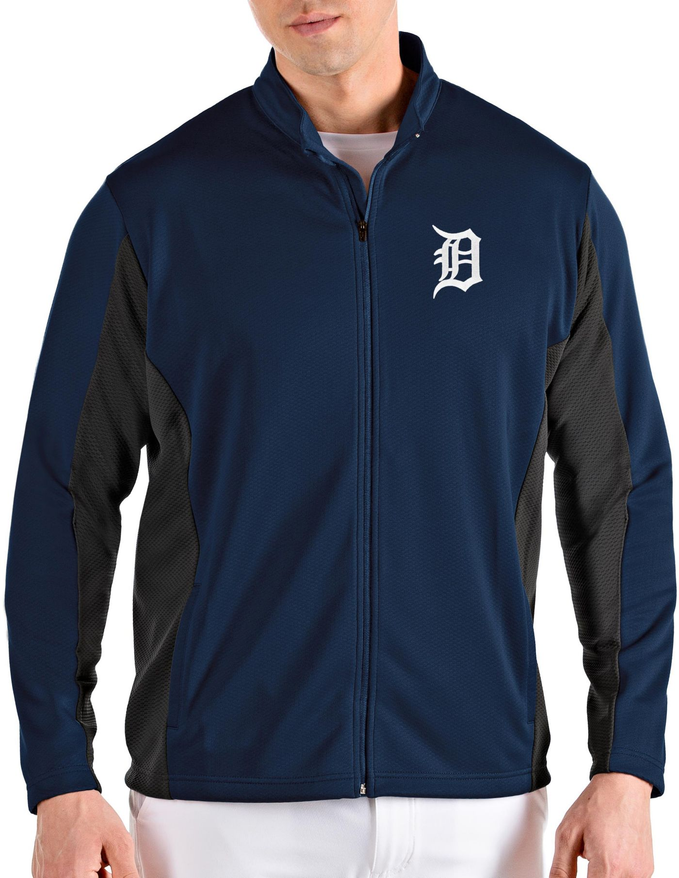 Antigua Men's Detroit Tigers Navy Passage Full-Zip Jacket