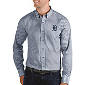 Antigua Men's Detroit Tigers Structure Button-Up Navy Long Sleeve Shirt