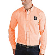 Antigua Men's Detroit Tigers Structure Button-Up Orange Long Sleeve Shirt