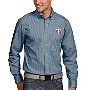 Antigua Men's Minnesota Twins Associate Button-Up Navy Long Sleeve Shirt