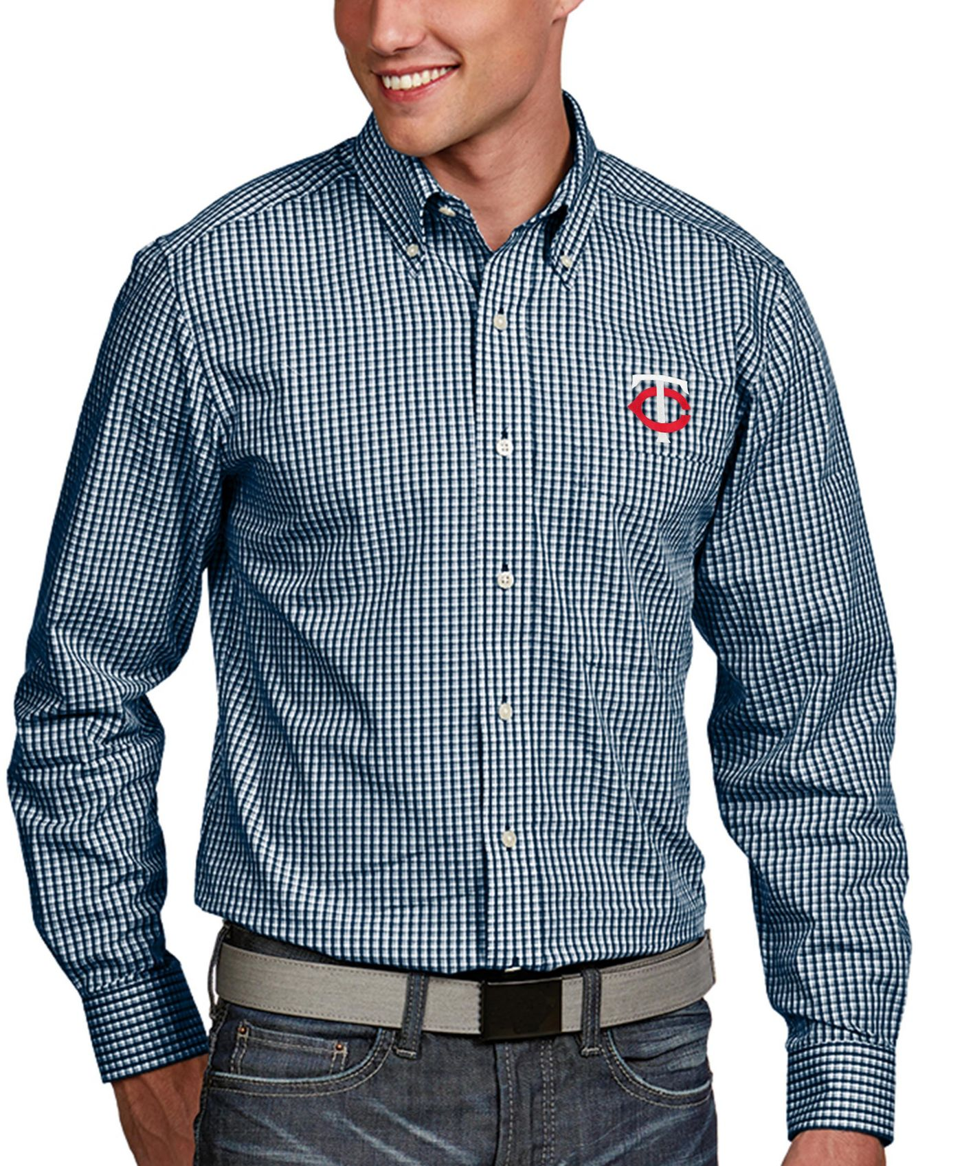 Antigua Men's Minnesota Twins Associate Button-Up Navy Long Sleeve Shirt