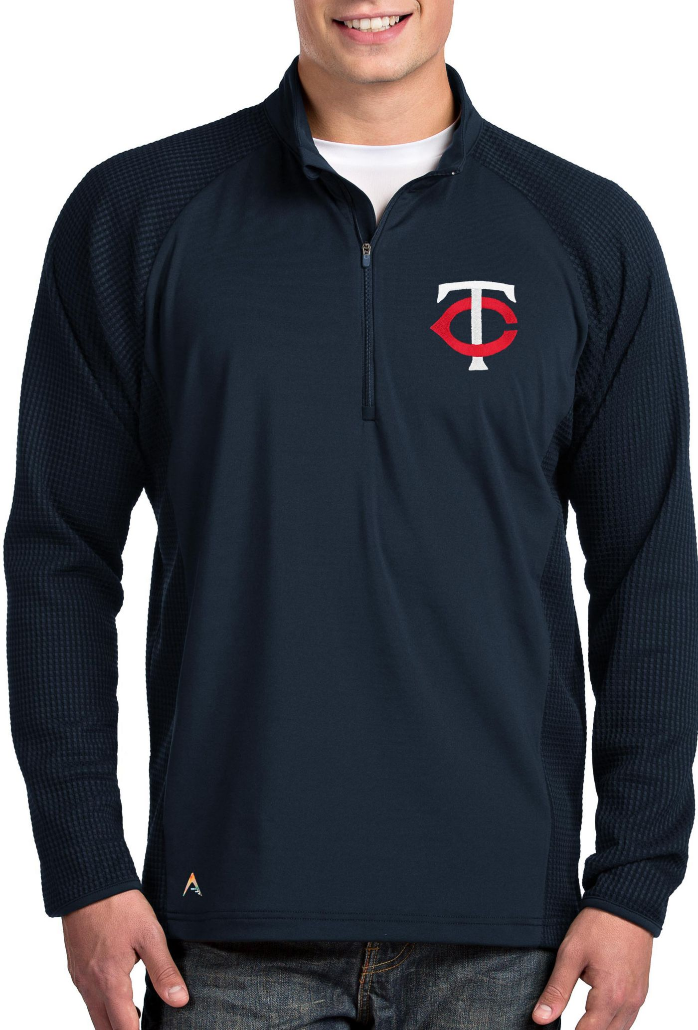 Antigua Men's Minnesota Twins Navy Sonar Performance Quarter-Zip Pullover