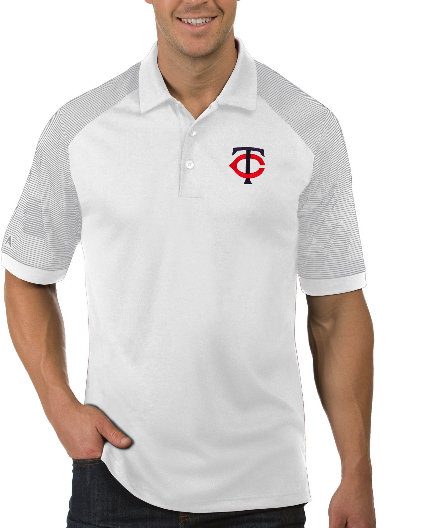 Antigua Men's Minnesota Twins Engage White Polo