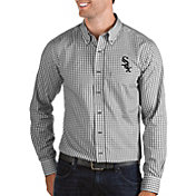 Antigua Men's Chicago White Sox Structure Button-Up Black Long Sleeve Shirt