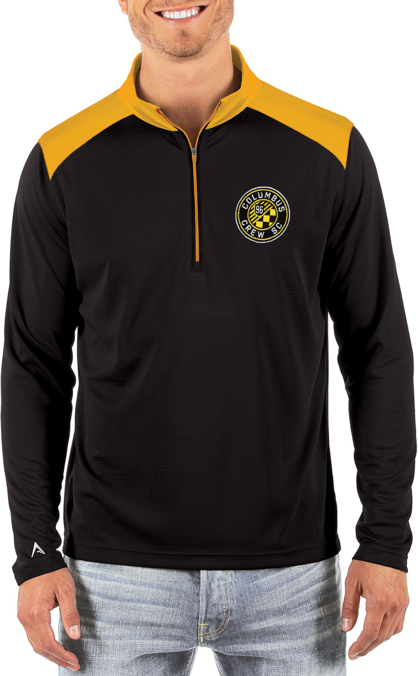 Antigua Men's Columbus Crew Velocity Black Quarter-Zip Pullover