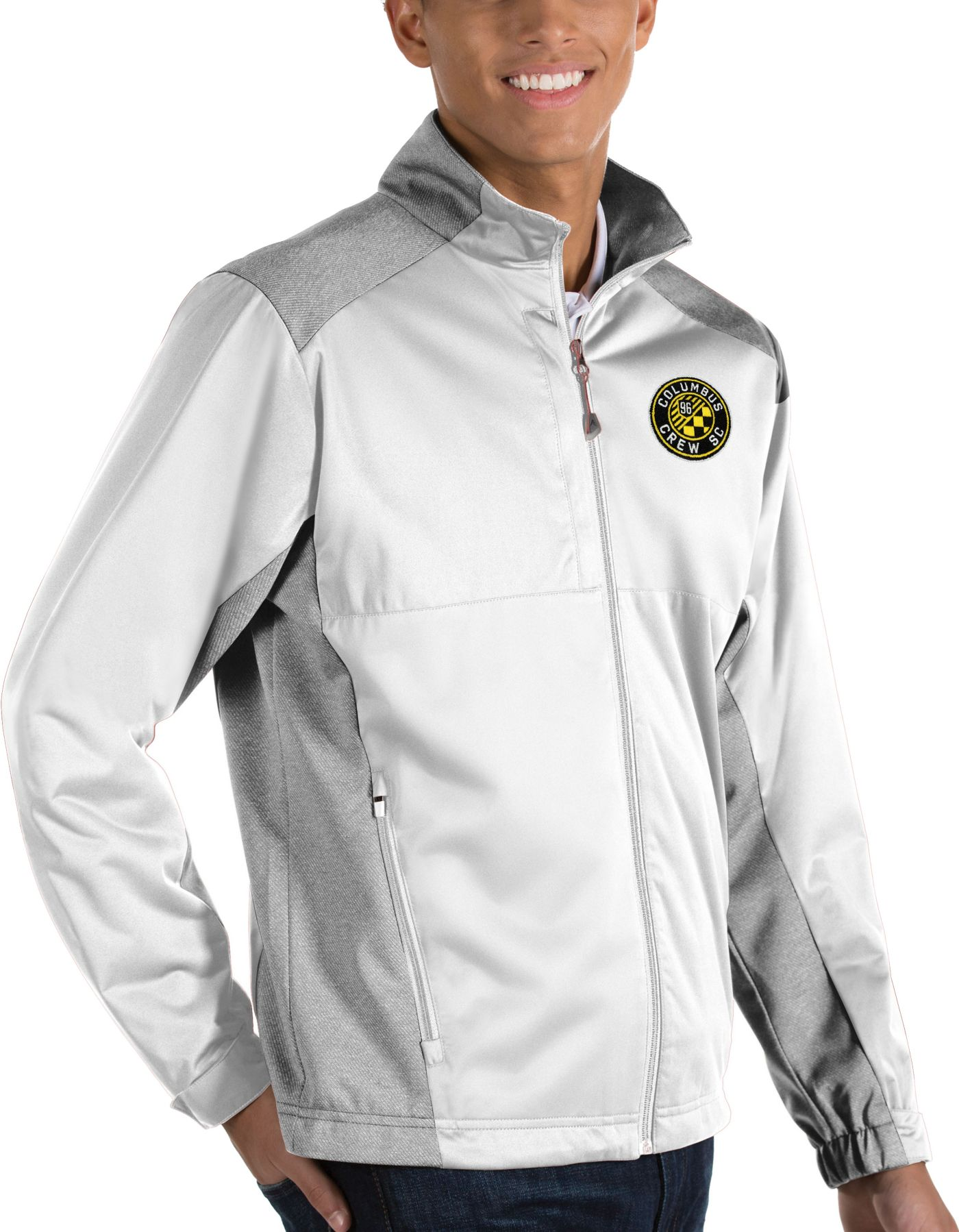 Antigua Men's Columbus Crew Revolve White Full-Zip Jacket
