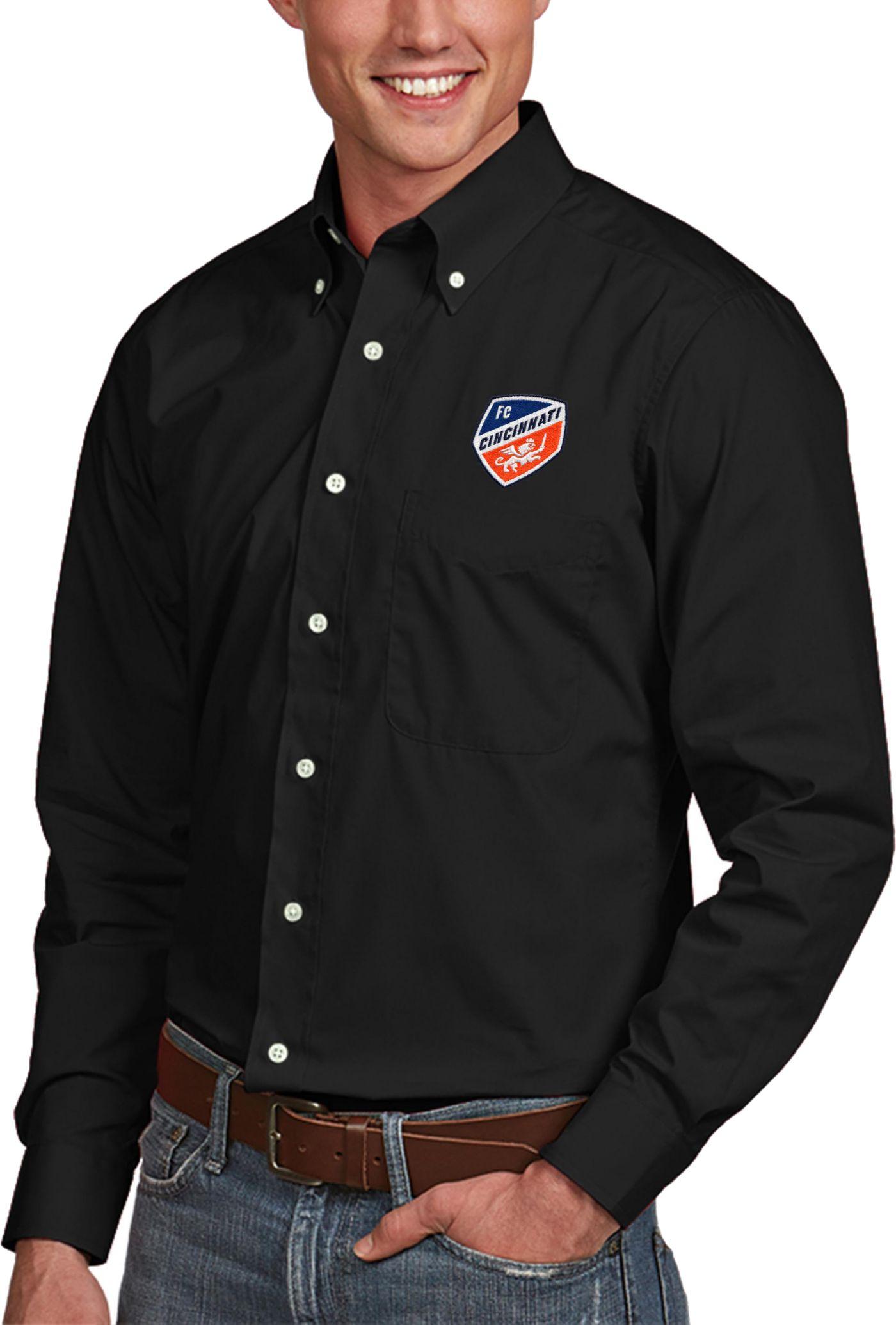 Antigua Men's FC Cincinnati Dynasty Black Button Down Long Sleeve Shirt
