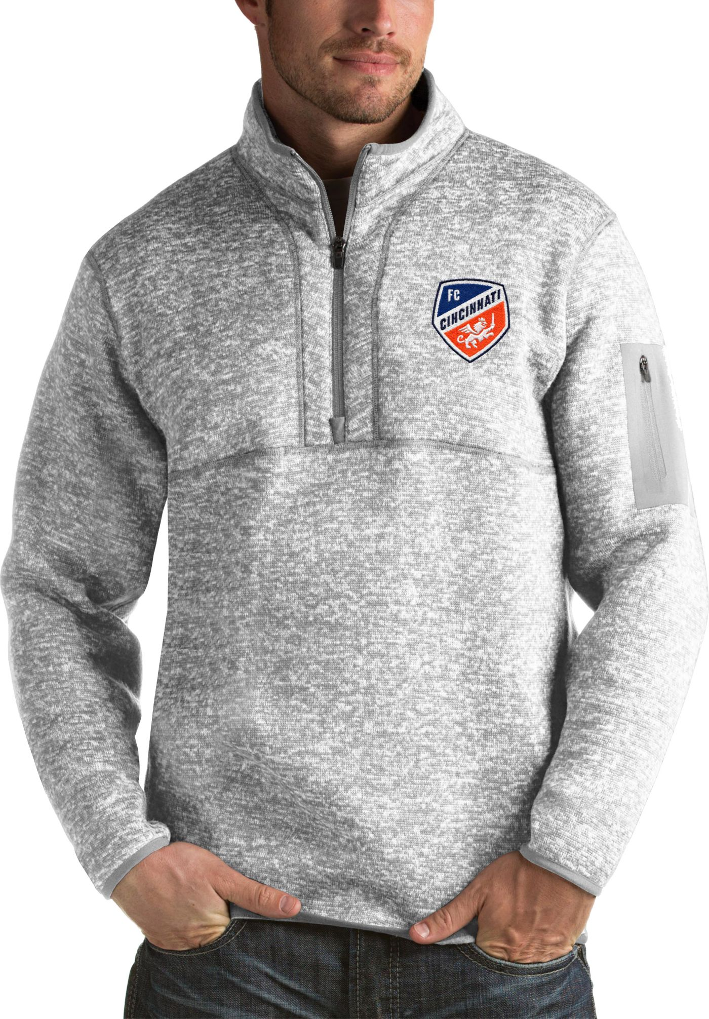 Antigua Men's FC Cincinnati Fortune Heather Grey Quarter-Zip Pullover