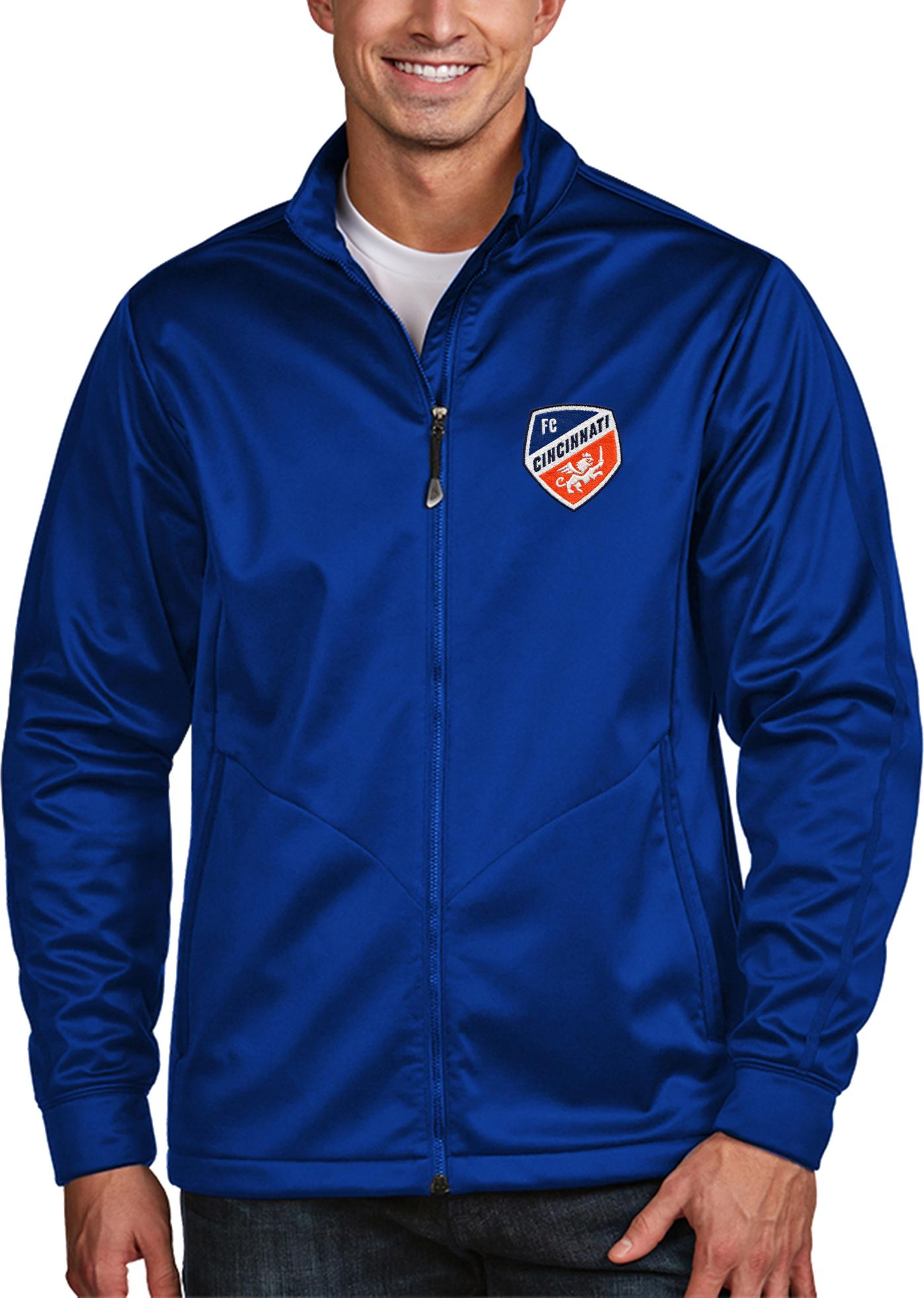 Antigua Men's FC Cincinnati Golf Royal Full-Zip Jacket
