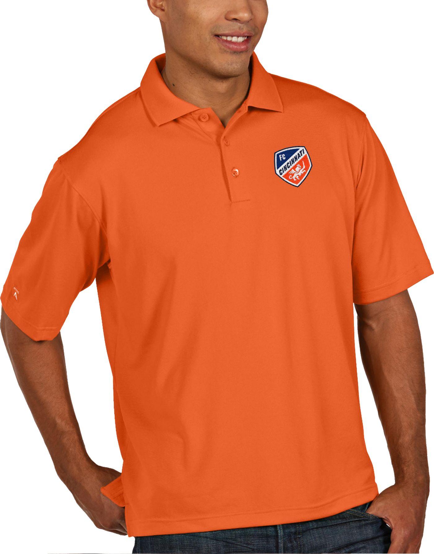 Antigua Men's FC Cincinnati Pique Orange Polo