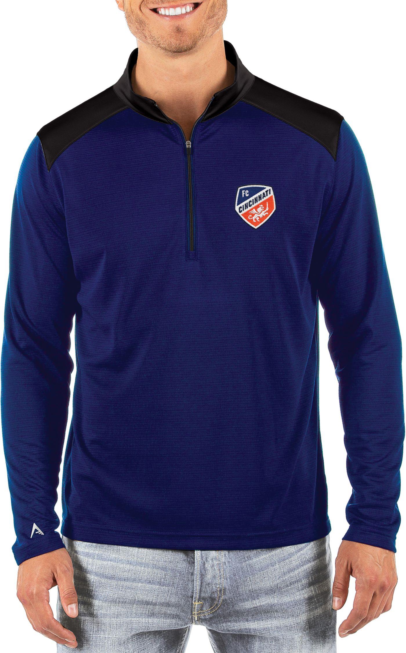 Antigua Men's FC Cincinnati Velocity Royal Quarter-Zip Pullover