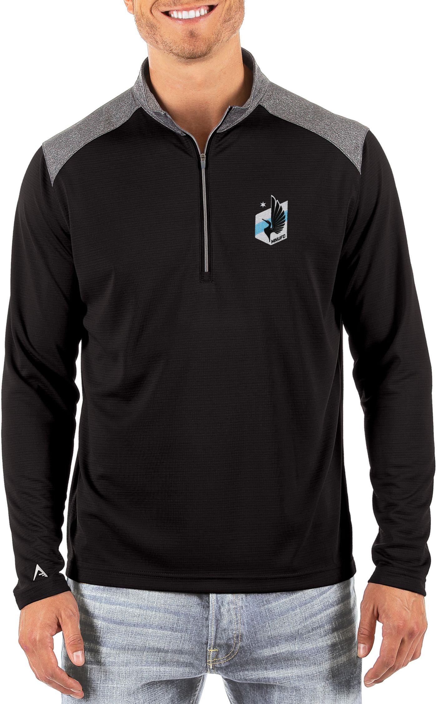 Antigua Men's Minnesota United FC Velocity Black Quarter-Zip Pullover