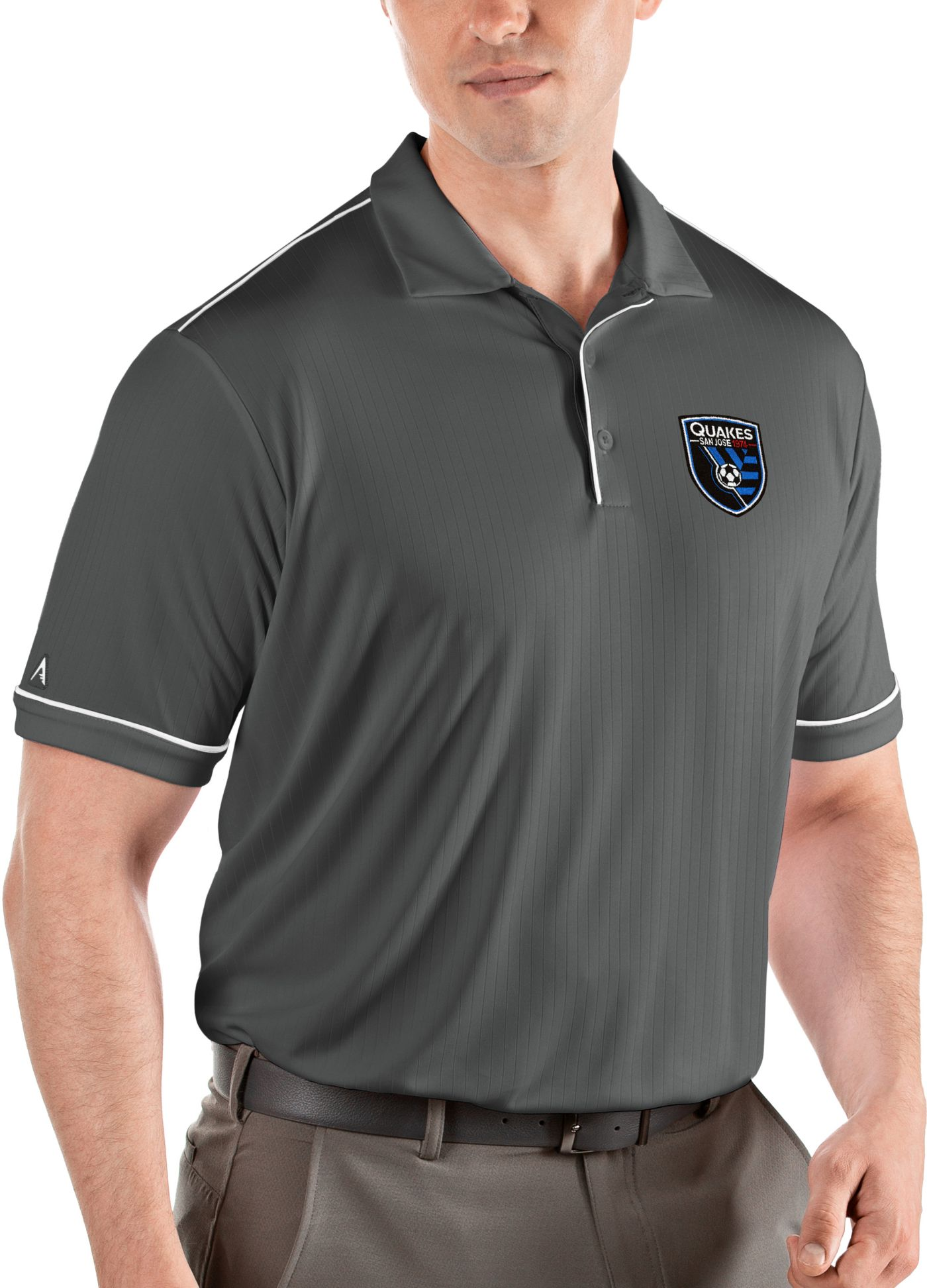 Antigua Men's San Jose Earthquakes Salute Grey Polo