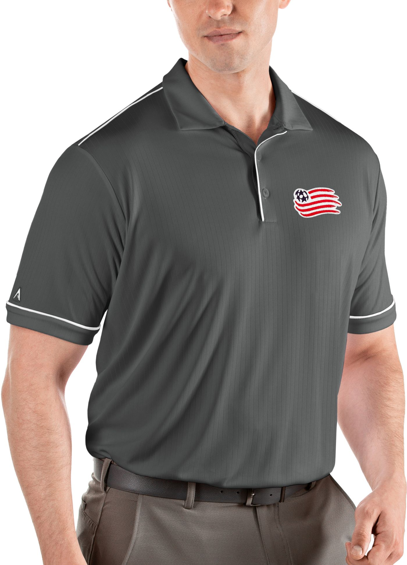 Antigua Men's New England Revolution Salute Grey Polo