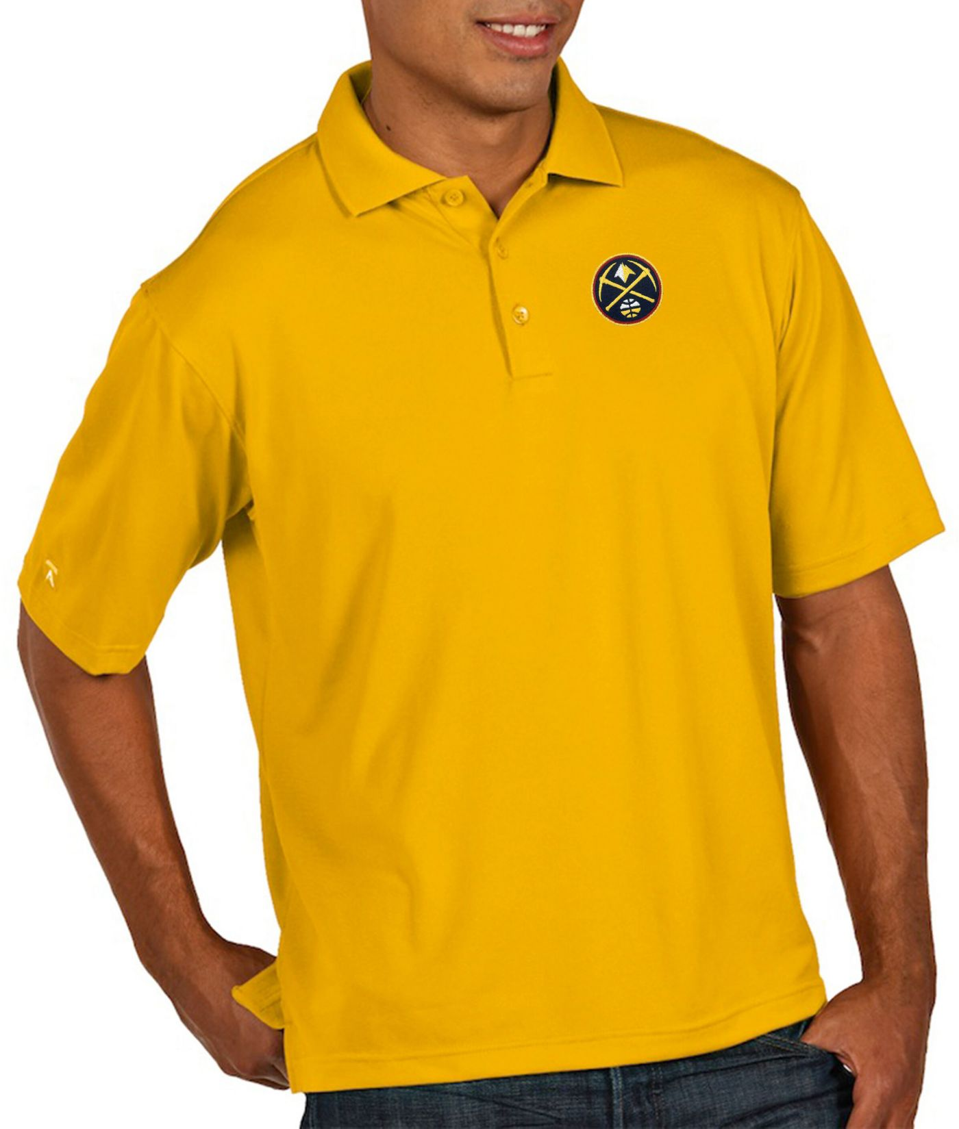 Antigua Men's Denver Nuggets Xtra-Lite Pique Performance Polo