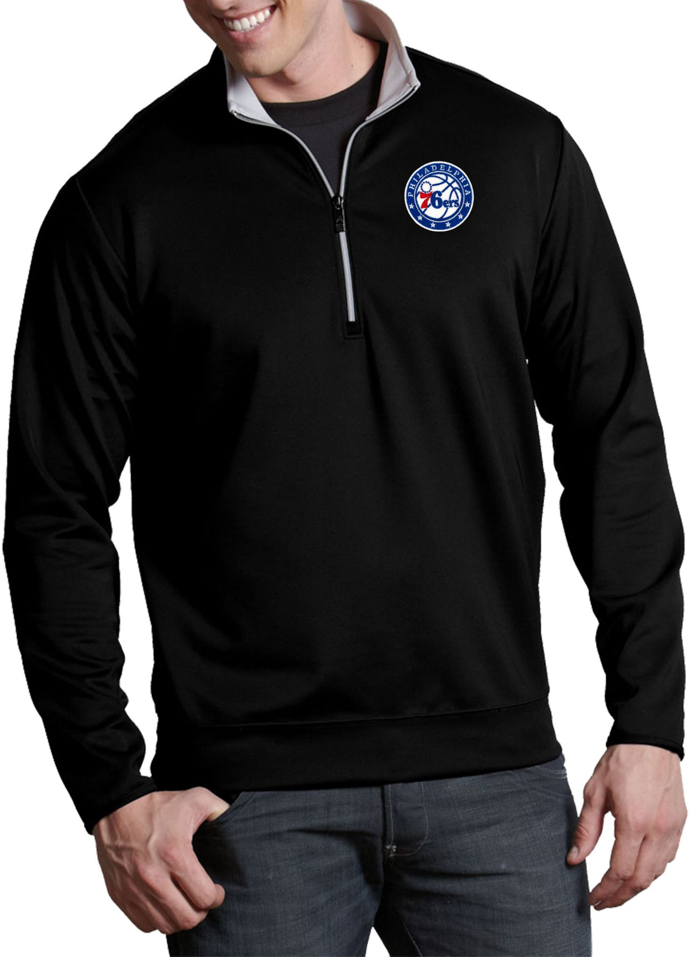 Antigua Men's Philadelphia 76ers Leader Black Quarter-Zip Pullover