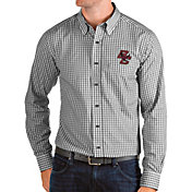Antigua Men's Boston College Eagles Structure Button Down Long Sleeve Black Shirt