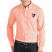 Antigua Men's Bowling Green Falcons Orange Structure Button Down Long Sleeve Shirt