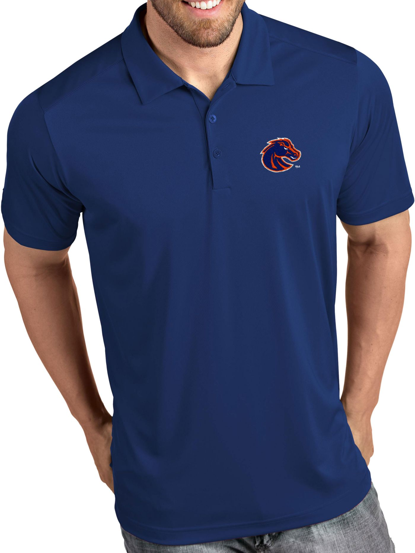 Antigua Men's Boise State Broncos Blue Tribute Performance Polo
