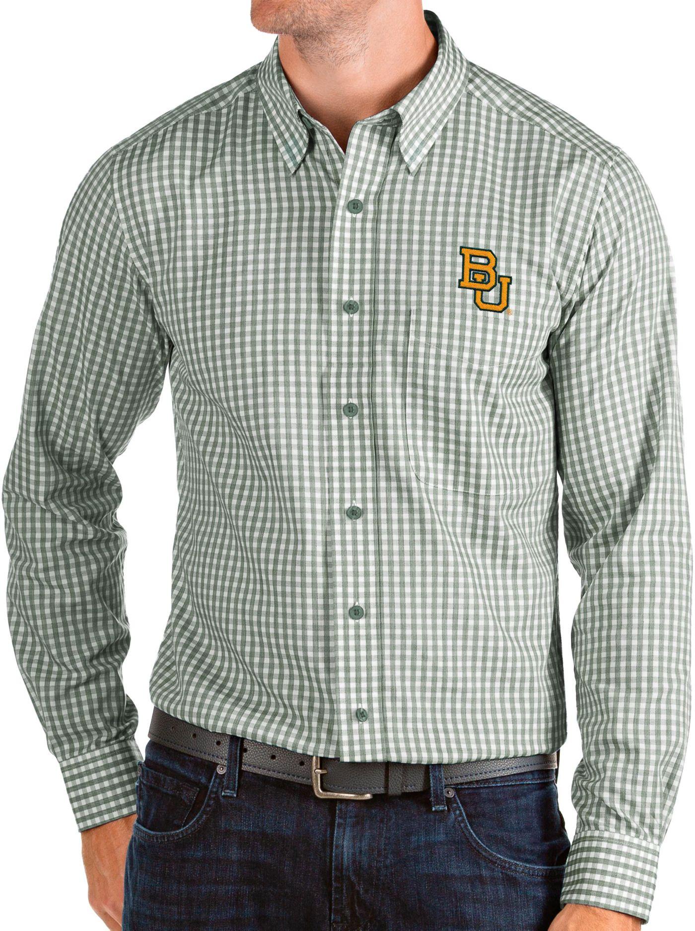 Antigua Men's Baylor Bears Green Structure Button Down Long Sleeve Shirt