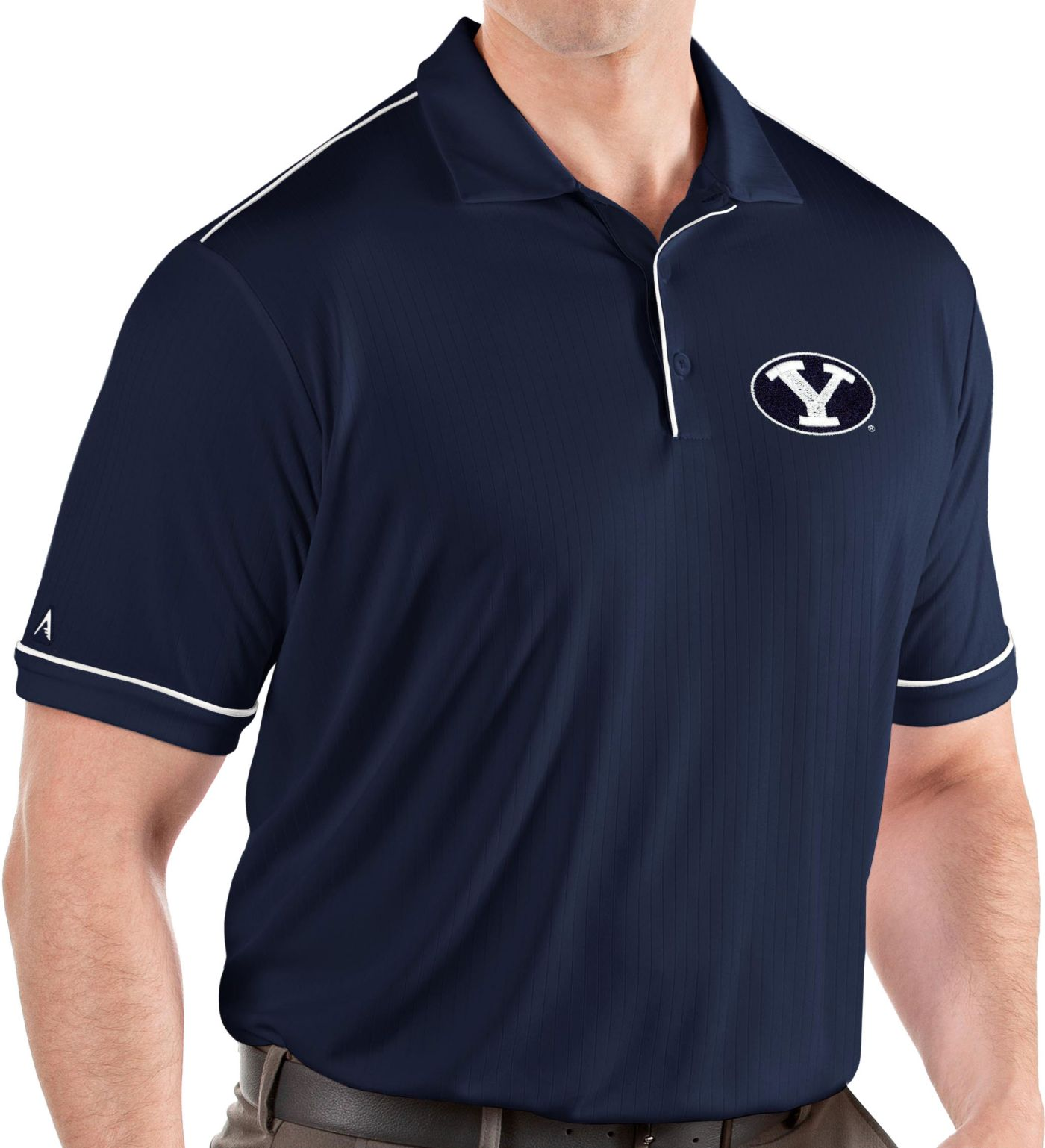 Antigua Men's BYU Cougars Blue Salute Performance Polo
