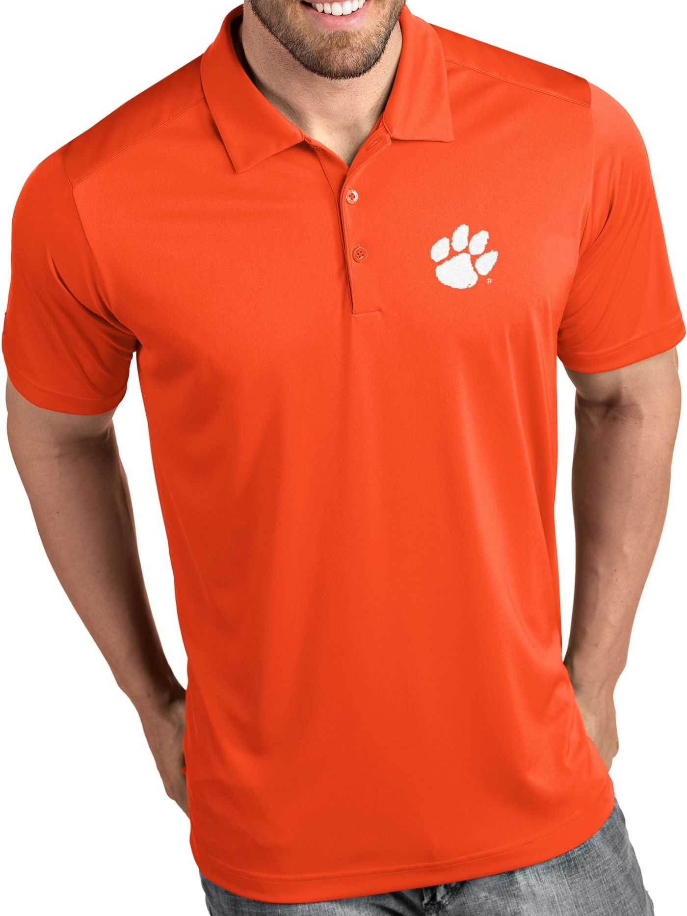 Antigua Men's Clemson Tigers Orange Tribute Performance Polo