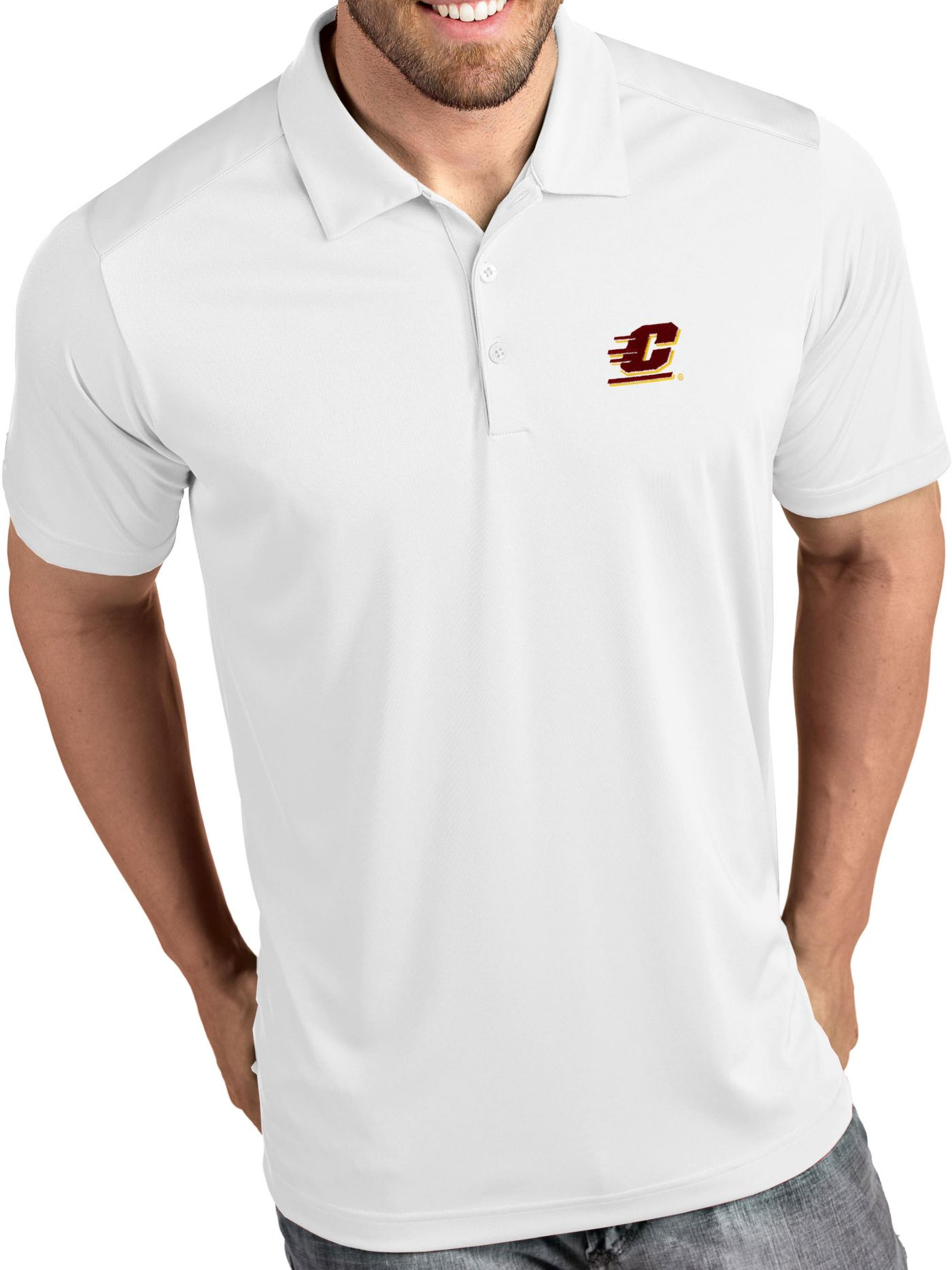 Antigua Men's Central Michigan Chippewas Tribute Performance White Polo