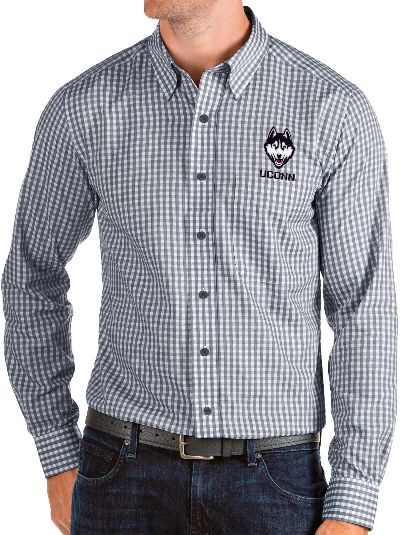 Antigua Men's UConn Huskies Blue Structure Button Down Long Sleeve Shirt