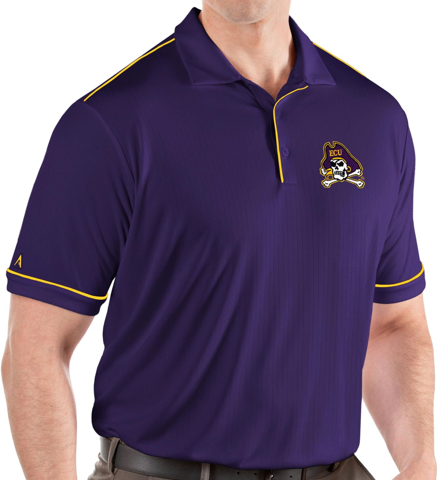 Antigua Men's East Carolina Pirates Purple Salute Performance Polo