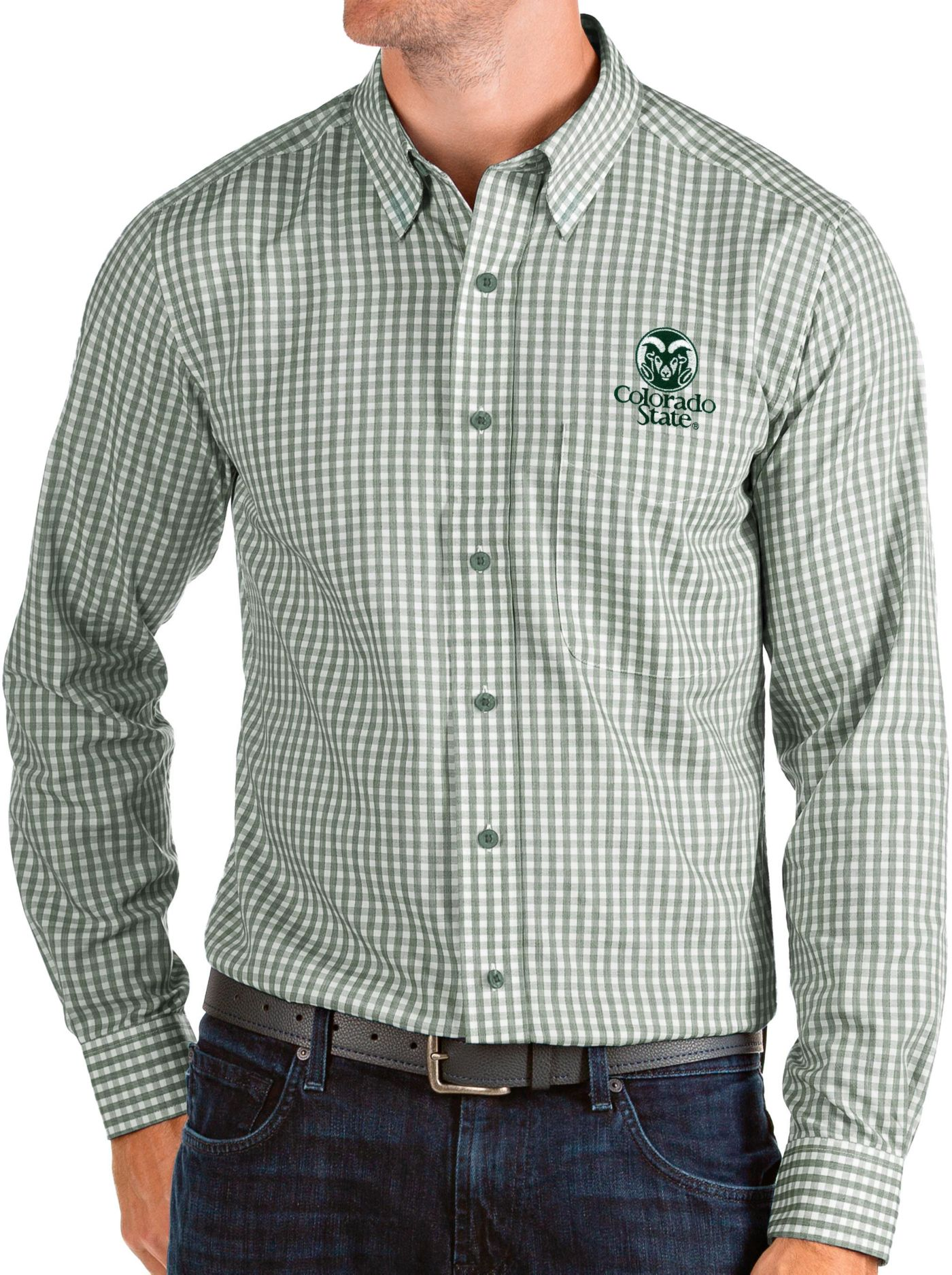 Antigua Men's Colorado State Rams Green Structure Button Down Long Sleeve Shirt