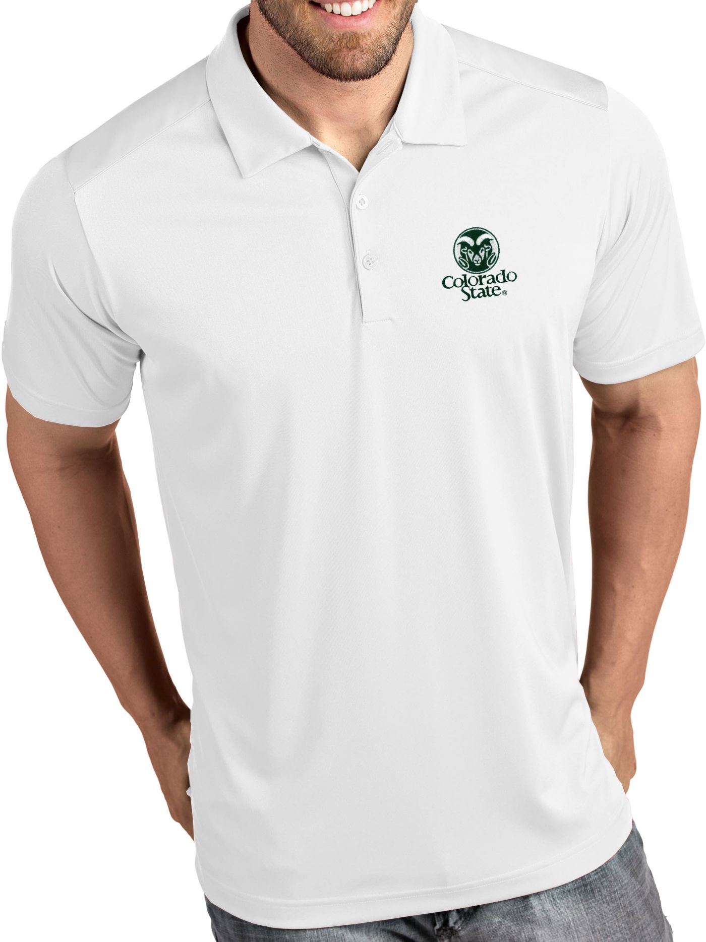 Antigua Men's Colorado State Rams Tribute Performance White Polo
