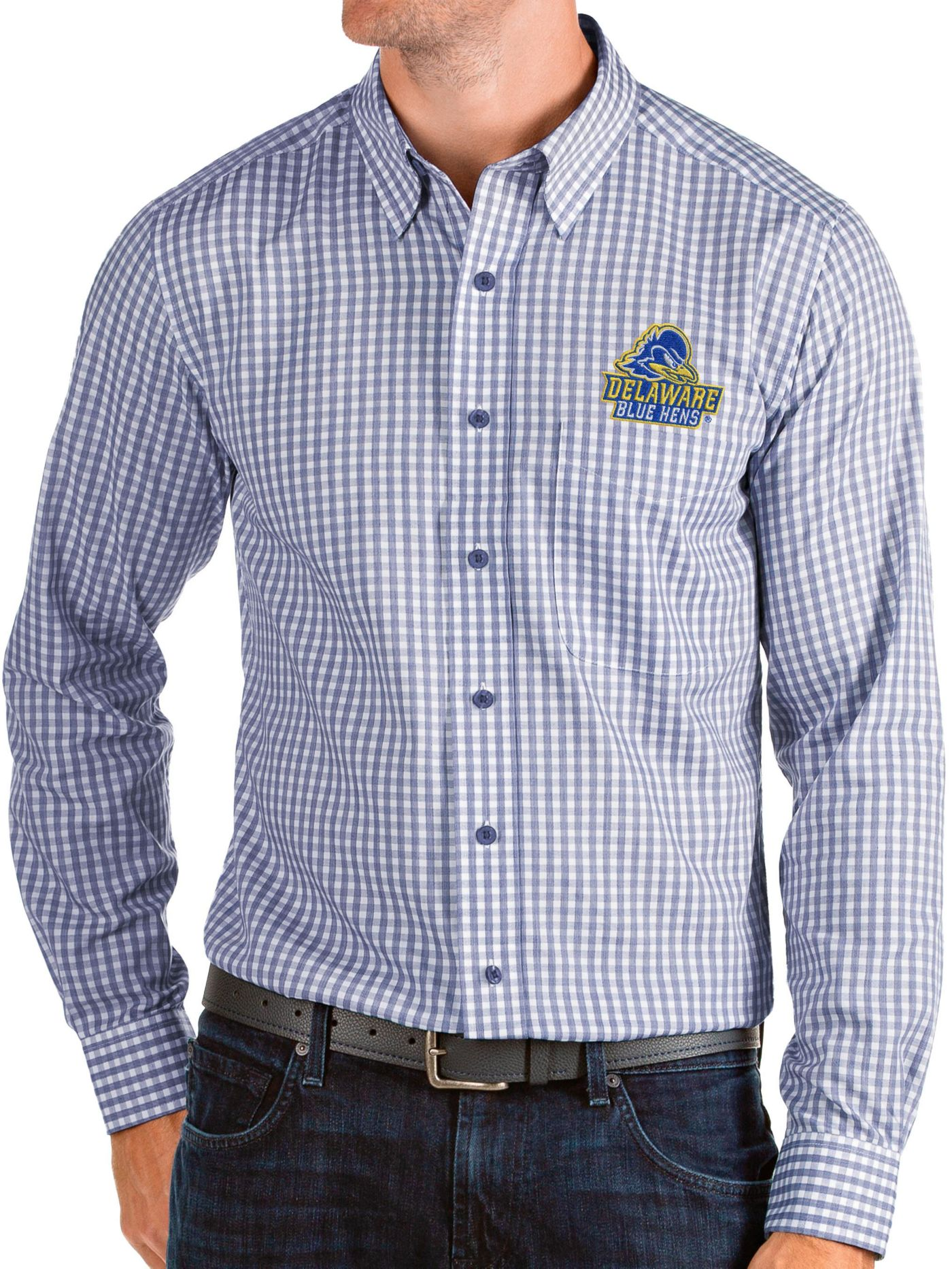 Antigua Men's Delaware Fightin' Blue Hens Blue Structure Button Down Long Sleeve Shirt